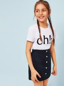 To find out about the Girls Letter Print Top & Buttoned Skirt Set at SHEIN, part of our latest Girls Two-piece Outfits ready to shop online today! Girls Fashion Clothes, Tween Fashion, Teen Fashion Outfits, Little Girl Fashion, Cute Girl Dresses, Cute Girl Outfits, Kids Outfits Girls, Forever 21 Outfits, Tween Mode