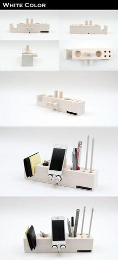[핸드폰거치대 연필꽂이 - 벤티 화이트 (Venti White)]   데스크의 품격을 높여 주는 핸드폰거치대연필꽂이, 지갑, 자동차키, USB…