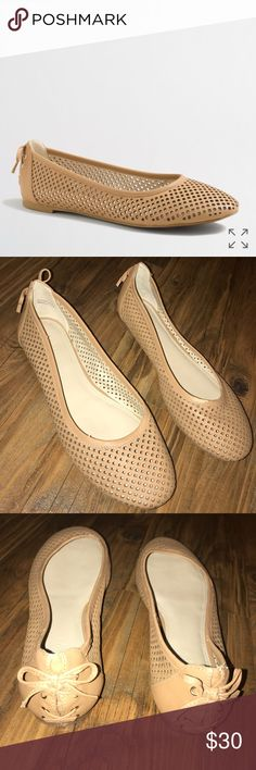 "J. Crew | Leather Perforated Flats Beautiful tan, perforated leather ballet flats by J. Crew. Style #49804. Leather upper, outsole and insole. The padded lining is very comfortable. Lace up detail on the back. Made in Italy.   Preowned in great condition. Small scuff on the top of shoe, please see photo.  Outsole L approximately 10.25"" and heel H is approximately 1/4"" J. Crew Shoes Flats & Loafers"
