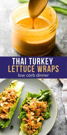 Simple and so flavorful, these Thai turkey lettuce wraps have a tangy and slightly spicy peanut sauce. Spoon the filling into crisp romaine lettuce leaves for an easy and lower in carbs dinner option. #mealprep #turkey #groundturkey #thai #lettucewrap #lowcarb #sweetpeasandsaffron Best Lunch Recipes, Healthy Low Carb Recipes, Delicious Dinner Recipes, Veggie Recipes, Appetizer Recipes, Cooking Recipes, Work Meals, Work Lunches, School Lunches