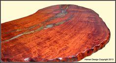 Huge Redwood Slab Desk with Stone Inlay live edge by JoniHamari, $14200.00
