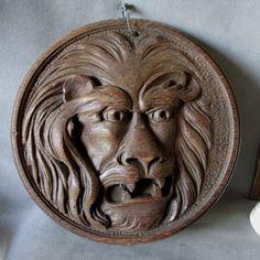 Antique Carved Oak Lion Plaque, Architectural Element