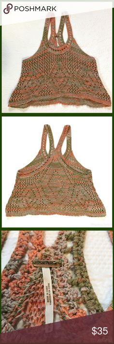 Free People Crochet Knit Sweater Tank Excellent used condition. Racer back. Peach, green and grey. Free People Tops Tank Tops