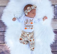 Unisex Coming Home Outfit,My First Thanksgiving,Baby Thanksgiving Outfit,Fall Outfits,Orange,Brown,Cream,leggings,hat,Headband by TheSouthernCloset101 on Etsy https://www.etsy.com/listing/460680614/unisex-coming-home-outfitmy-first
