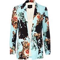 Turquoise floral print open front blazer-River Island