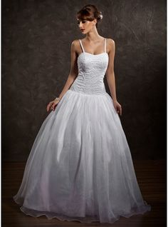 Ball-Gown Sweetheart Floor-Length Satin Organza Wedding Dress With Beading
