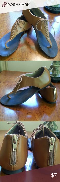 Sole Society Sandal Leather Thong Zip& Lace 6.5 Sole Society Sandal Tan Leather Thong Back Zip Lace Front.  Sz 6-1/2. Pre owned, some wear as shown in pics,but Festival ready! Please review pictures for condition. Thanks! Sole Society Shoes Sandals