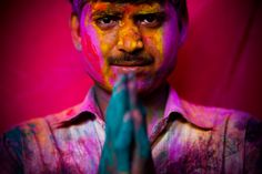 Thousands of Hindus celebrate the spring festival of Holi by throwing tinted powder and perfume on each other -- creating a breathtaking hypercolor frenzy.