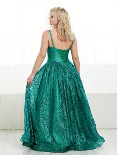Striking V-neck drop waist dress features shiny sequins on cracked ice tulle, A-line skirt with lace-up back and train. Plus Prom Dresses, Formal Dresses, Red Colour Images, Tiffany Dresses, Elegant Ball Gowns, A Line Skirts, Fit And Flare, Designer Dresses, Sequins