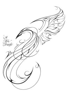 Beautiful Phoenix Outline