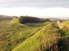 Hadrian's wall near the Roman fort at Housesteads