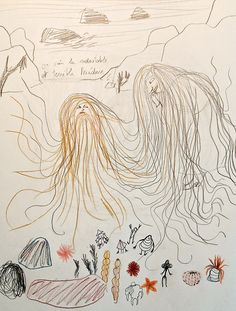 Development work for 'Mère Méduse / Mother Medusa' by Kitty Crowther Kitty Crowther, Mythological Characters, Funny Feeling, English Book, Latest Books, Tentacle, Mythology, Illustration Art, Graphic Designers
