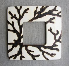 Custom picture frame wood burned Coral design by WDGDESIGN on Etsy
