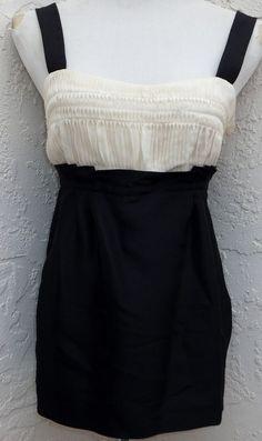 Diane von Furstenberg size 10 black ivory silk evening spaghetti strap top NEW #DianevonFurstenberg #TankCami #EveningOccasion