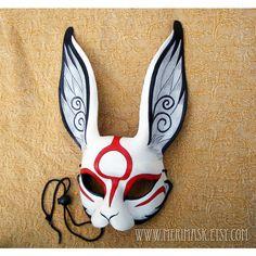 Japanese Rabbit leather mask handmade leather Okami bunny mask... ($190) ❤ liked on Polyvore featuring costumes, masks, costume, animal costumes, mardi gras costumes, bunny rabbit costume, rabbit costume and bunny halloween costume