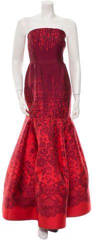 Red Oscar De La Renta Strapless Jacquard Gown Was $1,455 Now $873 https://api.shopstyle.com/action/apiVisitRetailer?id=531820662&pid=uid841-37799971-81