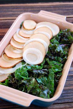 Potato and Greens Gratin (dairy-free, vegan)