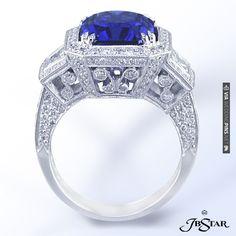 Beautiful sapphire and diamond engagement ring by JB Star. | VIA #WEDDINGPINS.NET