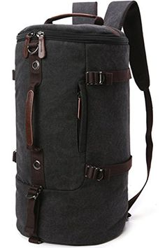 f38e732a9d2e Aidonger Unisex Vintage Canvas Barrel Hiking Backpack Black -- Click on the  image for additional