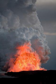Lava flows into the ocean on Big Island, Hawaii
