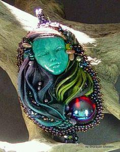 Mysterious Lady Shibori Silk Ribbon Bead Embroidered pendant by Sharayah Sheldon 4uidzne