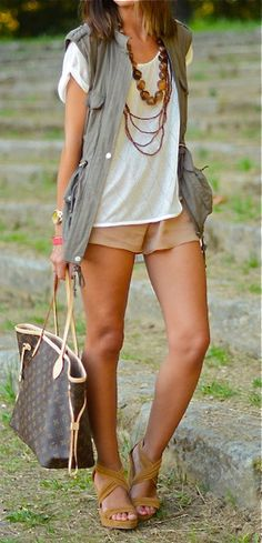 Shorts a little short, but cute summer outfit concept.  Like long necklaces and vest