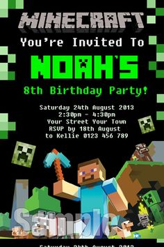 Free printable minecraft birthday invitations cakepins party minecraft invitation minecraft invite invitations for kids birthday invitation stopboris Image collections