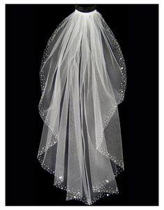 Wedding Veil with Assorted Pearls, Rhinestones, and Bugle Beaded Border