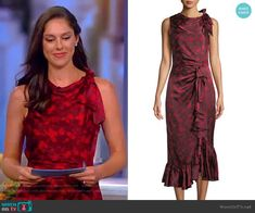 Abby s red floral ruched dress on The View bf0e6d4f7
