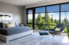 Burkehill Residence is a contemporary home designed by Craig Chevalier in collaboration with Raven Inside Interior Design and is located in West Vancouver, British Columbia, Canada. Contemporary Bedroom Furniture, Modern Bedroom Design, Modern House Design, Dark Furniture, Bed Design, Interior And Exterior, Interior Design, Modern Interior, Beautiful Interiors