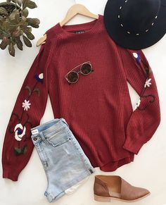 Embroidered Sleeve Cold Shoulder Sweater