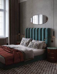 teal velvet upholstered headboard. / sfgirlbybay