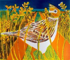 'Skylark' Original Screenprint by Kittie Jones. Kittie has created a superb series of screen prints of British birds; they are colourful and fun and beautifully observed.