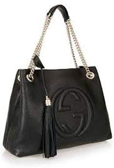 Amazon.com  Gucci Soho Medium Black Double Leather Chain Shoulder Bag Tote  Black Gold 82c956e79926d