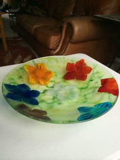 Design created using powdered glass and fused in a kiln Glass Company, Fused Glass Art, Creative Ideas, Watermelon, Birthday Parties, Create, Projects, Handmade, Gifts