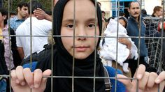Young Afghan girl at a detention centre: Photo by Noborder Lesvos.