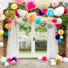 Cheap pom pom, Buy Quality tissue paper flowers directly from China paper flowers Suppliers: inch),Pom poms, Tissue Paper Flower Ball Craft Poms Paper colors,Wedding Party Decoration Wedding Pom Poms, Garland Wedding, Wedding Flowers, Blue Wedding, Trendy Wedding, Wedding Colours, Rainbow Wedding, Wedding Balloons, Bouquet Wedding