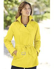 Our yellow trench rain coat adds a splash of color to dreary weather.