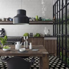 Hexagon tiles are perfect for creating a trendy honeycomb display in a bathroom, kitchen or lounge. Hexagonal shapes are a huge interior design trend. Black Hexagon Tile, Hexagon Tiles, White Tiles, Hex Tile, Subway Tiles, Mosaic Tiles, Kitchen Tiles, Kitchen Flooring, Kitchen Decor