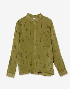 Langarmhemd mit Print - Blusen und Hemden - Kleidung - Damen - PULL&BEAR Deutschland