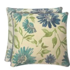 allen roth Set of 2 Sunbrella Violetta Baltic UV-Protected Outdoor  Decorative Pillows-lowes