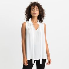 Abby Ruffle Collar Blouse (White)