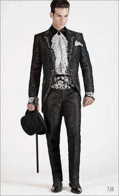 Abito da cerimonia uomo broccato nero ricamato nero e argento Smoking b89c6b7da9d