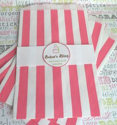 Hot Pink Stripe Candy Bags for Candy Bars Party by BakersBlingShop, $7.00