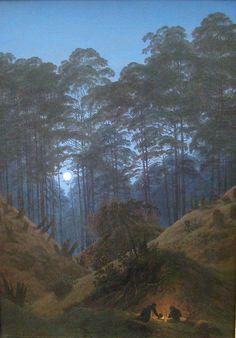Caspar David Friedrich, Dentro la foresta al chiarore della luna, Waldinneres bei Mondschein, tra 1823 e 1830, Olio su tela, 70,5 × 49, Berlino, Alte Nationalgalerie