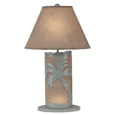 """Found it at Wayfair - Palm Tree Scene Panel 30"""" H Table Lamp with Empire Shade"""