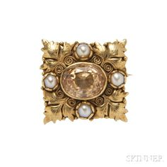 Arts and Crafts 18kt Gold, Citrine, and Seed Pearl Brooch, Margaret Rogers. | Lot 414 | Auction 2965B | Estimate $2,000-3,000