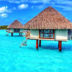 Overwater bungalows at Le Meridien, Bora Bora. Photo courtesy of mthiessen on Instagram.