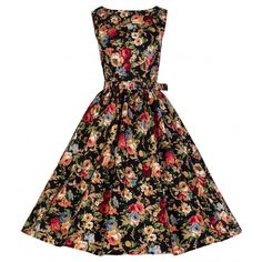 Lindy Bop Audrey Floral Dress Black
