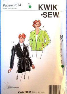 Kwik Sew Misses Jackets Pattern #2574 Sizes XS S M L XL Uncut #KwikSew